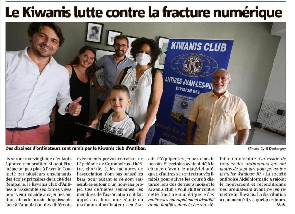 Article kiwanis Nice Matin